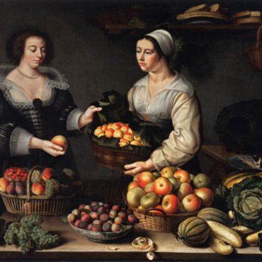 Louise Moillon, La marchande de fruits et de légumes (1631), huile sur panneau de bois, Musée du Louvre, Paris - LD