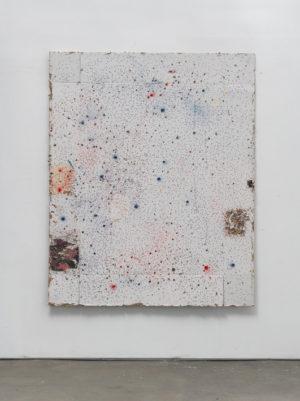 Il fait grand bleu, carbone couleur, carton, collage, Impacts, 196x150x3 cm