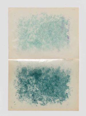 La vie des animaux, 2008, perforations vertes sur papier cristal